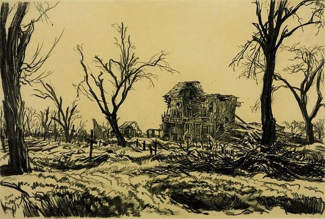 """Muirhead Bone - """"Soldiers cemetery"""""""