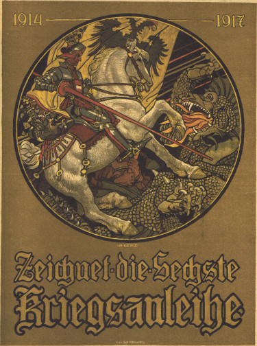 Affiche autrichienne montrant St George abattant le dragon - publicité pour les emprunts de guerre