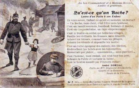 "Carte postale française de propagande ""anti-Boche"""