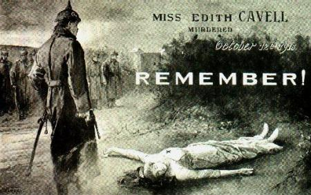 Carte postale de l'exécution de l'infirmière Edith Cavell par l'armée allemande