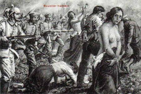Propagande montrant l'armée allemande se servant de civils belges comme bouclier humain