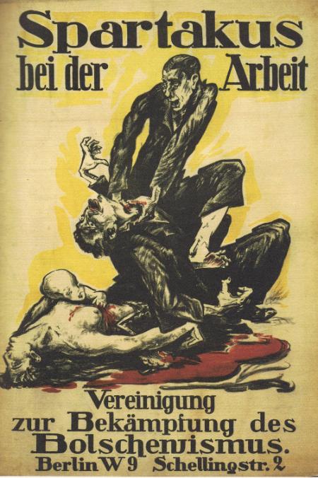 Affiche produite par un organisme d'extrême droite, dénonçant les militants de Spartakus