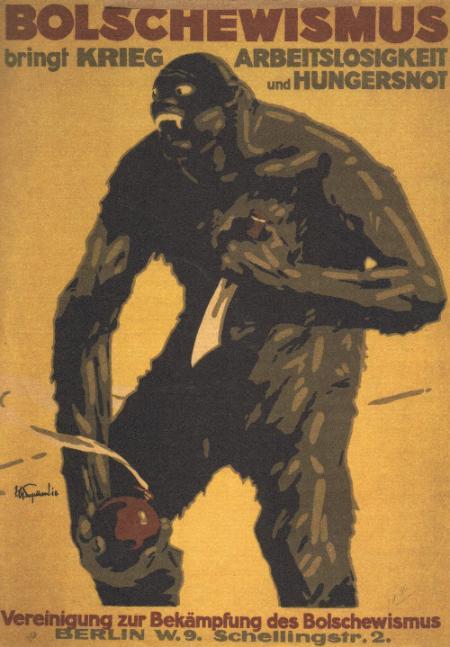 Affiche anti-bolchevique pendant la révolution allemande