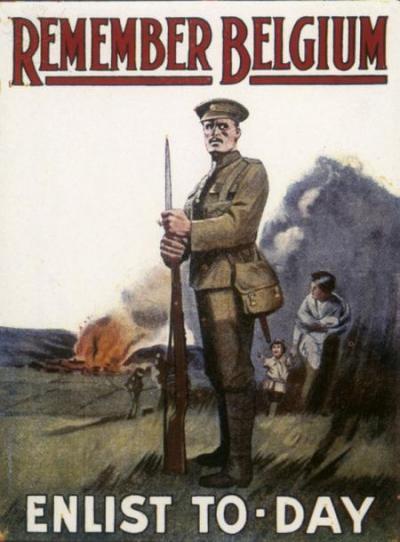 Affiche britannique se servant de l'invasion de la Belgique par l'Allemagne pour alimenter le recrutement